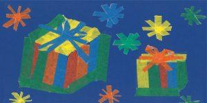 Weihnachtskarten-Bastelaktion mit Papierklebebändern - Schulprojekt 2019
